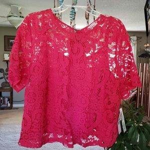 Nanette Lapore lace blouse in Monticello rose